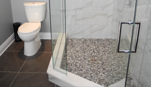 High-efficiency low maintenance toilets and three quarter baths