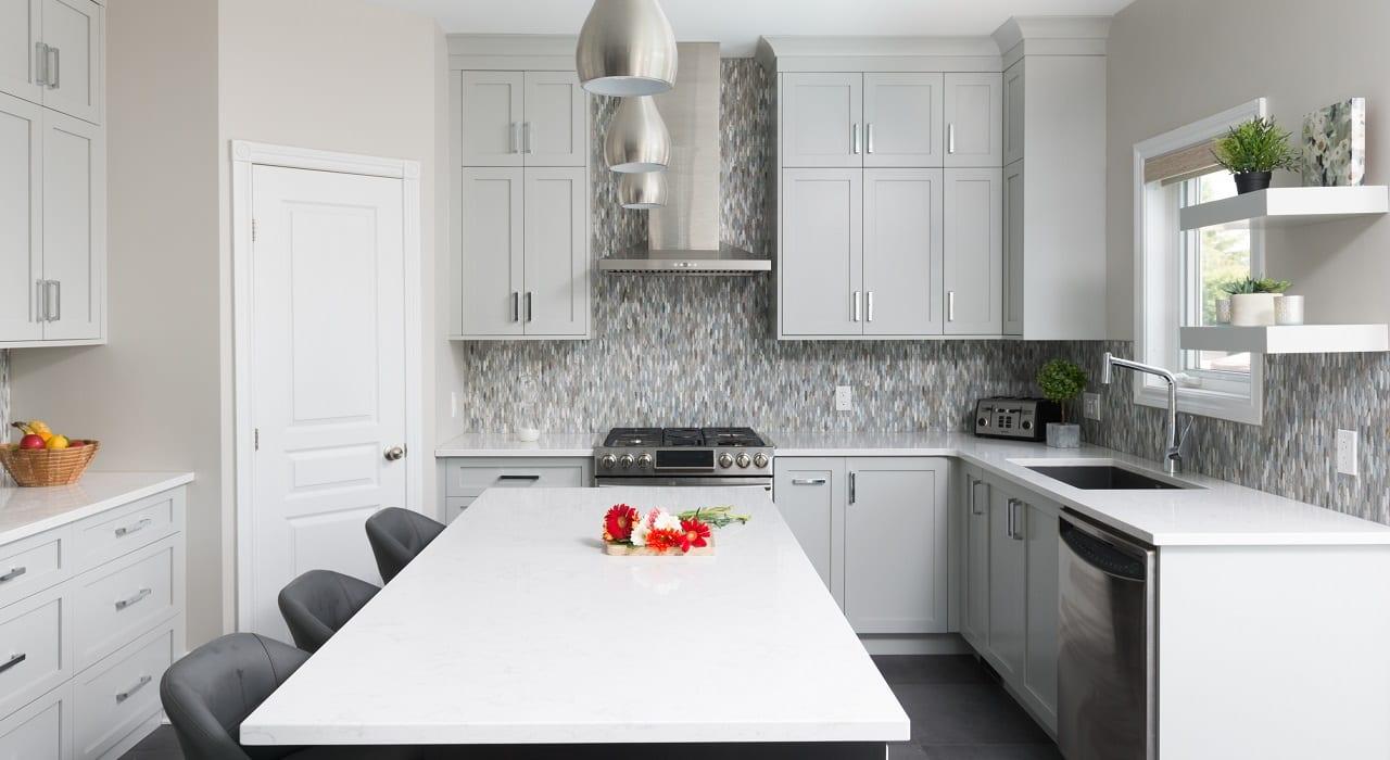 Kitchen renovation with large island with seating
