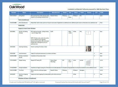 OakWood Detailed fixed price and contract build plan