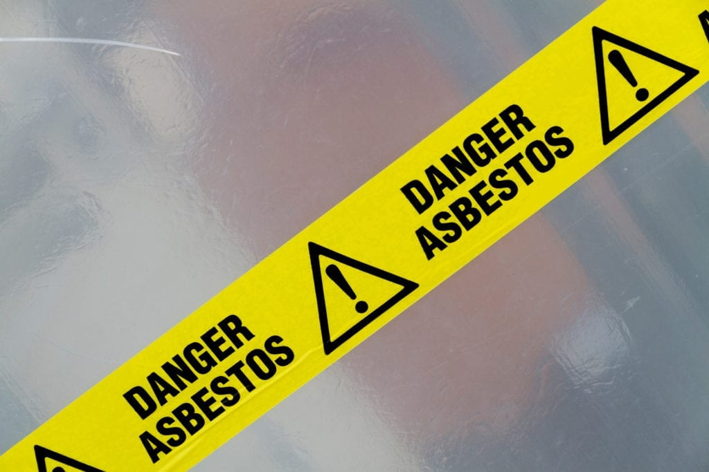Caution sign for Asbestos